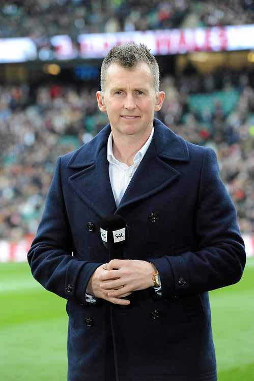 International Referee Nigel Owens commentate for S4C during the Guinness Six Nations match between England and Wales at Twickenham Stadium on Saturday 7th March 2020 (Photo by Rob Munro/Stewart Communications)
