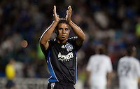 Quincy Amarikwa acknowledges the fans after the game. The San Jose Earthquakes tied DC United 2-2 at Buck Shaw Stadium in Santa Clara, California on July 25, 2009.