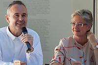 "13th Biennale of Architecture..Giardini..Austrian Pavillion..Wolfgang Tschapeller, Rens Veltman, Martin Perktold, ""hands have no tears to flow..."", 2012..Press conference with from l.: Artist Wolfgang Tschapeller, Minister of Culture Claudia Schmied."