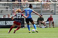 Boyds, MD - Sunday July 31, 2016: Victoria Huster, Raquel Rodriguez during a regular season National Women's Soccer League (NWSL) match between the Washington Spirit and Sky Blue FC at Maureen Hendricks Field, Maryland SoccerPlex.