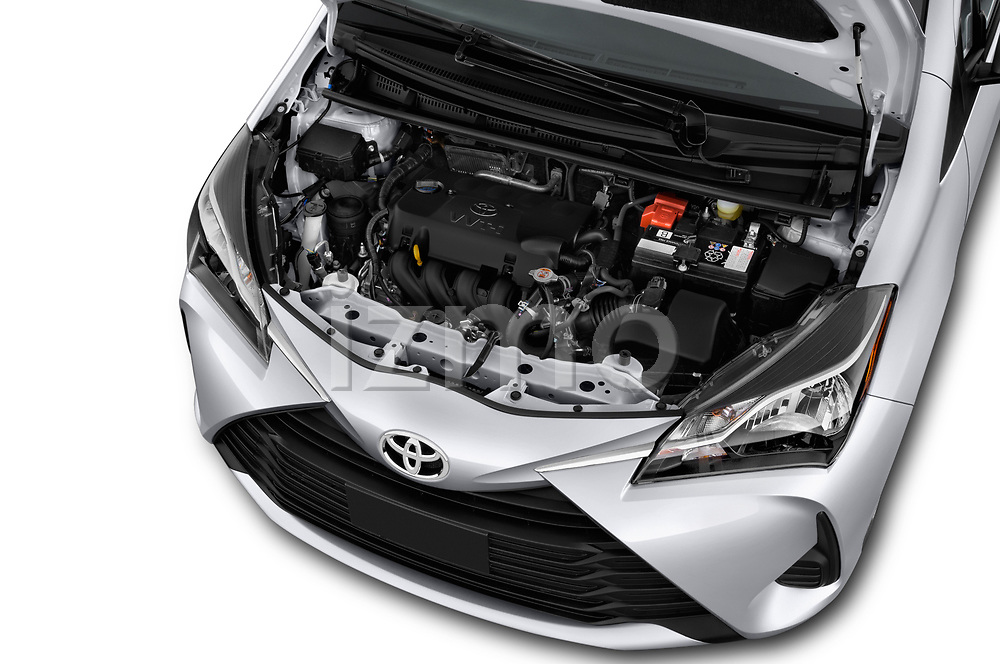 Car stock 2018 Toyota Yaris L 3-Door Liftback 3 Door Hatchback engine high angle detail view