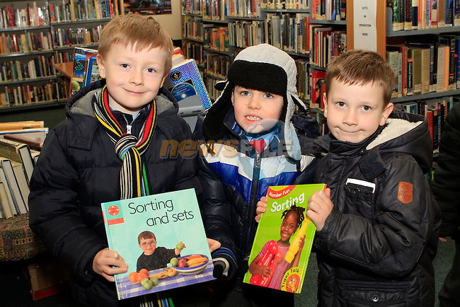 """Jake Hanratty, Cian McCole amd Ryan O'Connor from St.Patrick's NS at the """"Drogheda Counts"""" workshop in the Library...Photo NEWSFILE/Jenny Matthews..(Photo credit should read Jenny Matthews/NEWSFILE)"""