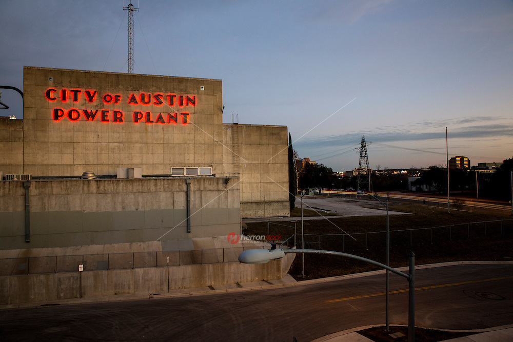 The great neon sign of the City of Austin Seaholm Power Plant in downtown Austin, Texas.