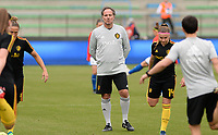 20180410 - FERRARA , ITALY : Belgian assistant coach Kris Van Der Haegen pictured during warming up ahead of the female soccer game between Italy and the Belgian Red Flames , the fifth game in the qualificaton for the World Championship qualification round in group 6 for France 2019, Tuesday 10 th April 2018 at Stadio Paolo Mazza / Stadio Comunale in Ferrara , Italy . PHOTO SPORTPIX.BE | DAVID CATRY