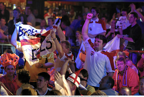 English Fans, Round One, Embassy World Darts Championships, Lakeside Country Club, Frimley Green, Surrey 030105 Photo:Neil Tingle/Action Plus...2003.man dart crowds spectators fans