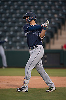 AZL Padres 2 right fielder Payton Smith (50) takes a practice swing during an Arizona League game against the AZL Angels at Tempe Diablo Stadium on July 18, 2018 in Tempe, Arizona. The AZL Padres 2 defeated the AZL Angels 8-1. (Zachary Lucy/Four Seam Images)