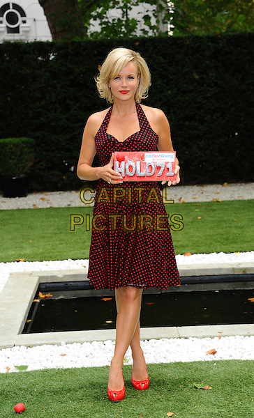Amanda Holden.Photocall for Vodafone JustTextGiving Charity Challenges, London, England..5th September 2011.full length black red dress polka dot halterneck peep toe shoes sign.CAP/CJ.©Chris Joseph/Capital Pictures.