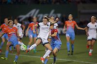 Portland, Oregon - Wednesday September 7, 2016: Portland Thorns FC defender Emily Sonnett (16) gets on the end of a cross during a regular season National Women's Soccer League (NWSL) match at Providence Park.