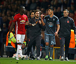 Eric Bailly of Manchester United and Facundo Roncaglia of Celta Vigo are kept apart as they walk off following their red cards during the Europa League Semi Final 2nd Leg match at Old Trafford Stadium, Manchester. Picture date: May 11th 2017. Pic credit should read: Simon Bellis/Sportimage