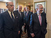 From left to right: United States Senator Chuck Grassley (Republican of Iowa), US Senator Orrin Hatch (Republican of Utah), US Senator John Cornyn (Republican of Texas), US Senator Thom Tillis (Republican of North Carolina), and United States Senate Majority Leader Mitch McConnell (Republican of Kentucky) arrive to make remarks at a Republican press conference in the US Capitol in Washington, DC after members of the US Senate viewed the latest FBI report on Judge Brett Kavanaugh on Thursday, October 4, 2018. <br /> Credit: Ron Sachs / CNP<br /> (RESTRICTION: NO New York or New Jersey Newspapers or newspapers within a 75 mile radius of New York City)