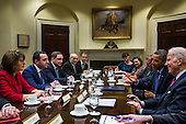 United States President Barack Obama (C-R) chats with Prime Minister Irakly Garibashvili of Georgia (C-L) in the Roosevelt Room of the White House in Washington, DC, USA, 24 February 2014.<br /> Credit: Jim LoScalzo / Pool via CNP