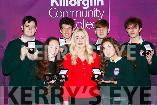 Killorglin Community College students who received Gold Gaisce awards from President Michael D Higgins to complete their Gold, Silver and Bronze Gaisce awards collection l-r: Gavin Moriarty, Saoirse Fitzgerald, Timothy McGrath, Ms Grace O'Sullivan, Cian Lynch, Grace Lynch and Donal Brennan