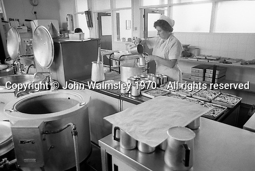 The kitchen, Whitworth Comprehensive School, Whitworth, Lancashire.  1970.