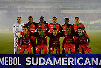 TUNJA  - COLOMBIA - 30 - 05 - 2017: Los Jugadores de Patriotas F. C., posan para una foto durante partido de vuelta entre Patriotas F. C. de Colombia y Everton of Chile, de la primera fase, llave 5 por la Copa Conmebol Sudamericana en el estadio La Independencia de la ciudad de Tunja. / The players Patriotas F. C., pose for a photo during a match of the second leg of the first phase key 5 of between Patriotas F. C. of Colombia and Everton of Chile, for the Conmebol Sudamericana Cup 2017 at the La Libertad stadium in the city of Tunja. Photo: VizzorImage / Javier Morales / Cont.