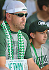Rob Fulmer of Colts Neck, New Jersey and son Robby Fulmer watch the New York Jets practice at Atlantic Health Jets Training Center in Florham Park, NJ on Wednesday, Aug. 17, 2016.