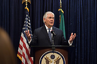 In this photo provided by the United States Department of State, U.S. Secretary of State Rex Tillerson addresses U.S. Mission Nigeria staff at a Meet and Greet at U.S. Embassy Abuja in Nigeria on March 12, 2018.  US President Donald J. Trump announced on Tuesday, March 13, 2018 that he is removing Tillerson from his post and replacing him with CIA Director Mike Pompeo.<br /> Credit: US Department of State via CNP /MediaPunch
