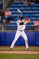 Salem Red Sox second baseman Brett Netzer (13) at bat during a game against the Lynchburg Hillcats on May 10, 2018 at Haley Toyota Field in Salem, Virginia.  Lynchburg defeated Salem 11-5.  (Mike Janes/Four Seam Images)