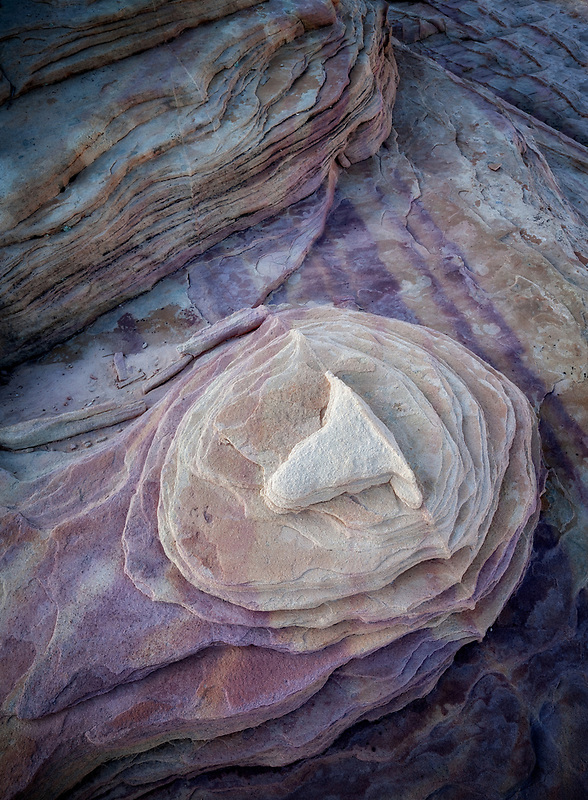 Unusual rock formation with a variety of colors in sandstone. Valley of Fire State Park, Nevada