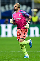 6th November 2019, Milan, Italy; UEFA Champions League football, Atalanta versus Manchester City; Manchester City full back Kyle Walker dons the keepers jersey to play in goal after the dismissal of Bravo and injury of original keeper Ederson