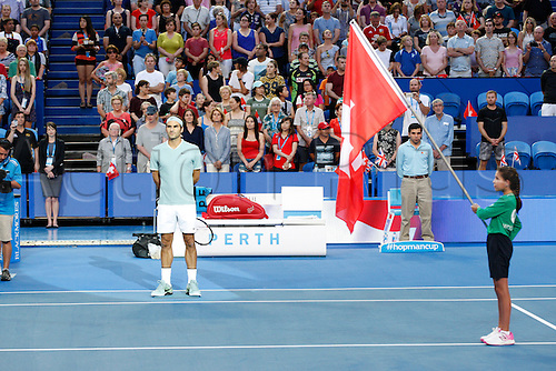 02.01.2017. Perth Arena, Perth, Australia. Mastercard Hopman Cup International Tennis tournament. Roger Federer (SUI) sings his countries national anthem before the start of his match against Britains Dan Evans.