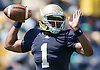 April 21, 2012:  Notre Dame Fighting Irish quarterback Everett Golson (1) passes the ball in first quarter action of the Blue-Gold Spring game at Notre Dame Stadium in South Bend, Indiana.  The Defense topped the Offense by a score of 42-31.