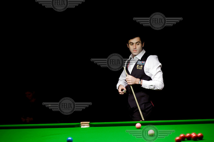 Ronnie O'Sullivan at the practice table during the German Snooker Masters event at the Tempodrom in Berlin. The first ranking event, one that includes the top 16 snooker players in the world, to take place in Germany for 14 years, it attracted an audience of 2,500 fans every evening.