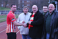 Billy Coyne of Hornchurch gets his award before the game  - AFC Hornchurch vs Bognor Regis Town - Ryman League Premier Division Football at The Stadium, Bridge Avenue, Upminster - 07/02/15 - MANDATORY CREDIT: Mark Hodsman/TGSPHOTO - Self billing applies where appropriate - contact@tgsphoto.co.uk - NO UNPAID USE