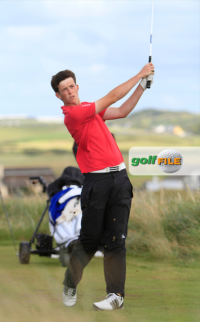 Ryan McKinstry (Cairndhu) on the 11th tee during the South of Ireland Amateur Open Championship Quarter Finals at Lahinch Golf Club  30th July 2013 <br /> Picture:  Thos Caffrey / www.golffile.ie