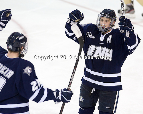 (Sorkin) Stevie Moses (UNH - 22) - The Boston College Eagles defeated the visiting University of New Hampshire Wildcats 4-3 on Friday, January 27, 2012, in the first game of a back-to-back home and home at Kelley Rink/Conte Forum in Chestnut Hill, Massachusetts.