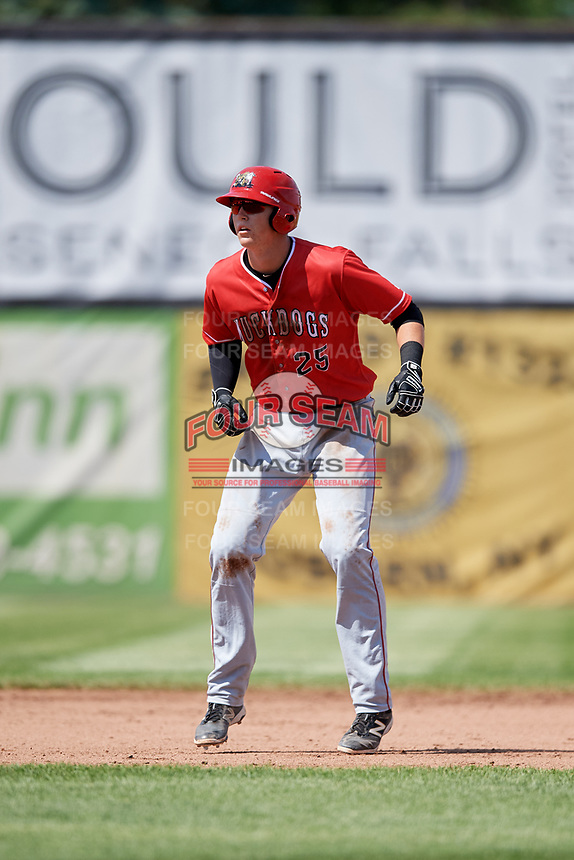 Batavia Muckdogs first baseman Sean Reynolds (25) leads off second base during a game against the Auburn Doubledays on June 17, 2018 at Falcon Park in Auburn, New York.  Auburn defeated Batavia 10-6.  (Mike Janes/Four Seam Images)