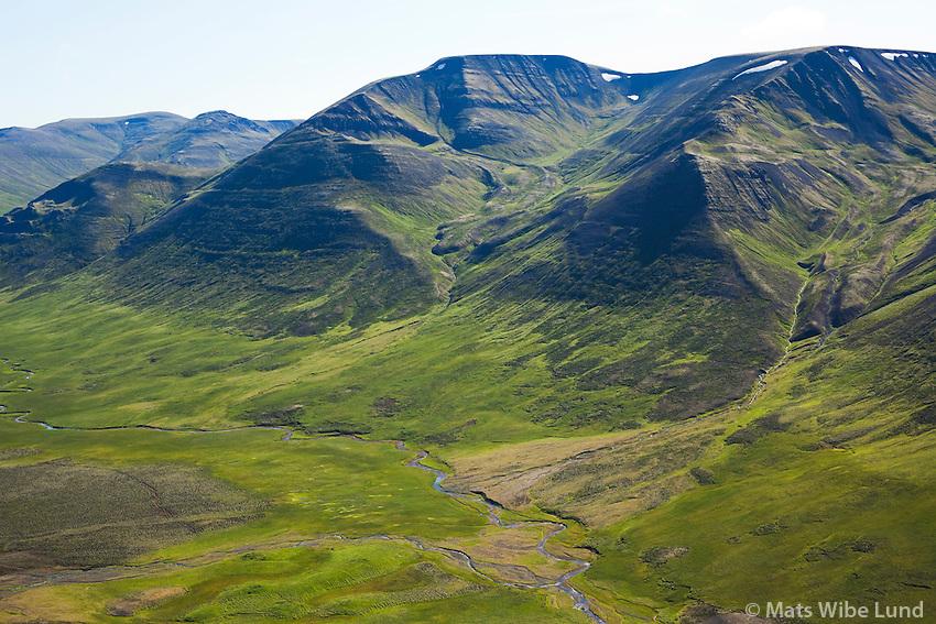 Eyrarland og Vesturá séð til suðurs, Laxárdalur,  Blönduósbær áður Engihlíðarhreppur / Eyrarland and Vestura viewing south, Laxardalur, Blonduosbaer former Engihlidarhreppur.