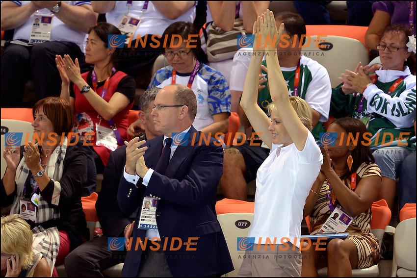 Alberto di Monaco con sua moglie Charlene sugli spalti del nuoto.London 29/7/2012 Aquatics Centre.London 2012 Olympic games - Olimpiadi Londra 2012.Swimming - Nuoto.Foto JB Autissier/Panoramic/Insidefoto