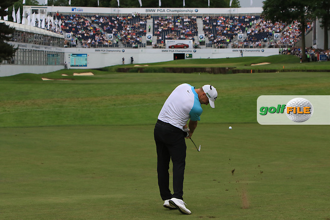 Alex Noren (SWE) taking his 2nd shot on the 18th fairway during Round 4 of The BMW PGA Championship  at Wentworth Golf Club on Sunday 28th May 2017.<br /> Photo: Golffile / Thos Caffrey.<br /> <br /> All photo usage must carry mandatory copyright credit     (&copy; Golffile | Thos Caffrey)