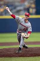 Rutgers Scarlet Knights pitcher Tommy Genuario (27) delivers a pitch to the plate against the Michigan Wolverines on April 27, 2019 in the NCAA baseball game at Ray Fisher Stadium in Ann Arbor, Michigan. Michigan defeated Rutgers 10-1. (Andrew Woolley/Four Seam Images)