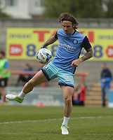 Sam Saunders of Wycombe Wanderers warms up ahead of the Sky Bet League 2 match between Morecambe and Wycombe Wanderers at the Globe Arena, Morecambe, England on 29 April 2017. Photo by Stephen Gaunt / PRiME Media Images.