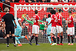 David de Gea of Manchester United is beaten by a free kick from West Ham?s Dimitri Payet for the opening goal during the Emirates FA Cup match at Old Trafford. Photo credit should read: Philip Oldham/Sportimage