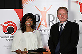 Volunteer of the Year winner Bhavna Leatham - Onewhero Pukekohe Hockey Club with Dave Knowles from Sparc. Counties Manukau Sport 17th annual Sporting Excellence Awards held at the Telstra Clear Pacific Events Centre, Manukau City, on November 27th 2008.