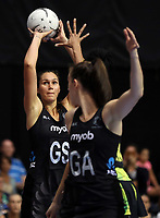 24.02.2018 Silver Ferns Ameliaranne Ekenasio in action during the Silver Ferns v Jamaica Taini Jamison Trophy netball match at the North Shore Events Centre in Auckland. Mandatory Photo Credit ©Michael Bradley.
