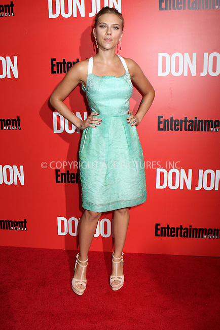 WWW.ACEPIXS.COM<br /> <br /> September 12 2013, New York City<br /> <br /> Scarlett Johansson arriving at the 'Don Jon' New York Premiere at SVA Theater on September 12, 2013 in New York City. <br /> <br /> <br /> By Line: Nancy Rivera/ACE Pictures<br /> <br /> <br /> ACE Pictures, Inc.<br /> tel: 646 769 0430<br /> Email: info@acepixs.com<br /> www.acepixs.com