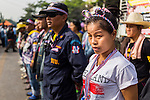 24 DECEMBER 2013 - BANGKOK, THAILAND:  Anti-government protestors block the gates to the Thai-Japan Stadium in the Din Daeng section of Bangkok. Hundreds of anti-government protestors are camped out around the Thai-Japan Stadium in Bangkok, where political parties are supposed to register for the election on February 2. As of Dec 24, nine of the more than 30 parties were able to register. Protestors hope to prevent the election. The action is a part of the ongoing protests in Bangkok that have caused the dissolution of the elected government.     PHOTO BY JACK KURTZ