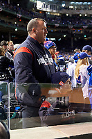 Former Cleveland Indians Jim Thome with his son before Game 5 of the Major League Baseball World Series against the Chicago Cubs on October 30, 2016 at Wrigley Field in Chicago, Illinois.  (Mike Janes/Four Seam Images)