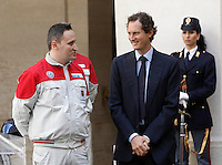 Il presidente di Fiat Chrysler John Elkann, a destra, durante la presentazione della nuova berlina Alfa Romeo Giulia a Palazzo Chigi, Roma, 5 maggio 2016.<br /> Fiat Chrysler chairman John Elkjann, right, attends the presentation of the new Alfa Romeo Giulia sedan at Chigi Palace, Rome, 5 May 2016.<br /> UPDATE IMAGES PRESS/Isabella Bonotto