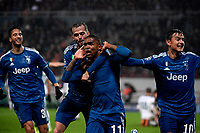 Douglas Costa of Juventus celebrates with Miralem Pjanic and Paulo Dybala after scoring the winning goal of 1-2<br /> Moscow 06-11-2019 Stadion Lokomotiv <br /> Football Champions League 2019/2020 Group D  <br /> Lokomotiv Moscow - Juventus <br /> Photo Federico Tardito / Insidefoto