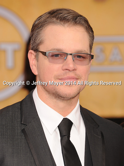 LOS ANGELES, CA- JANUARY 18: Actor Matt Damon arrives at the 20th Annual Screen Actors Guild Awards at The Shrine Auditorium on January 18, 2014 in Los Angeles, California.