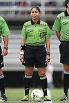 07 September 2014: Referee Christina Unkel. The University of North Carolina Tar Heels played the University of Arkansas Razorbacks at Koskinen Stadium in Durham, North Carolina in a 2014 NCAA Division I Women's Soccer match. UNC won the game 2-1.
