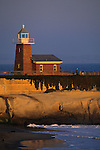 Lighthouse and beach at sunset (Surfing Museum) Santa Cruz, CALIFORNIA