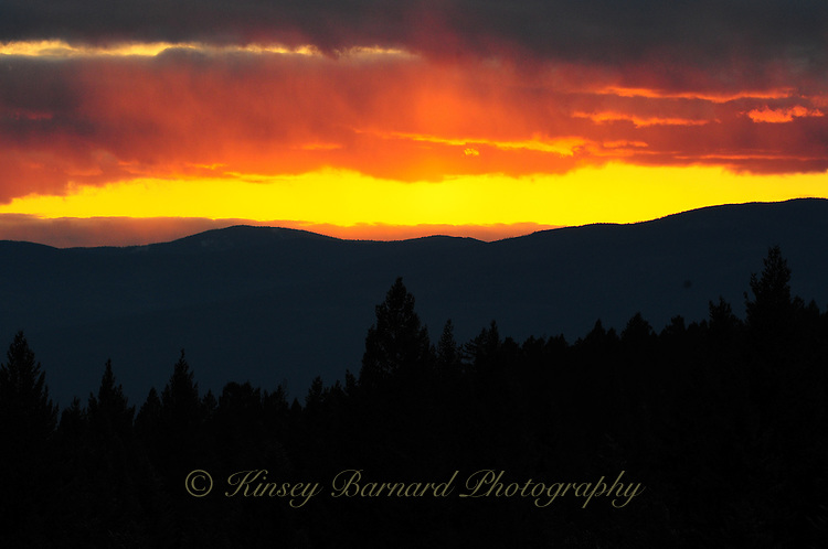 Colorful Montana sunsets in the Kootenai National Forest.