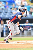 Rome Braves right fielder Greyson Jenista (23) swings at a pitch during a game against the Asheville Tourists at McCormick Field on July 6, 2018 in Asheville, North Carolina. The Tourists defeated the Braves 7-4. (Tony Farlow/Four Seam Images)