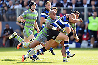 Jack Walker of Bath Rugby is tackled by Nili Latu of Newcastle Falcons. Aviva Premiership match, between Bath Rugby and Newcastle Falcons on September 23, 2017 at the Recreation Ground in Bath, England. Photo by: Patrick Khachfe / Onside Images