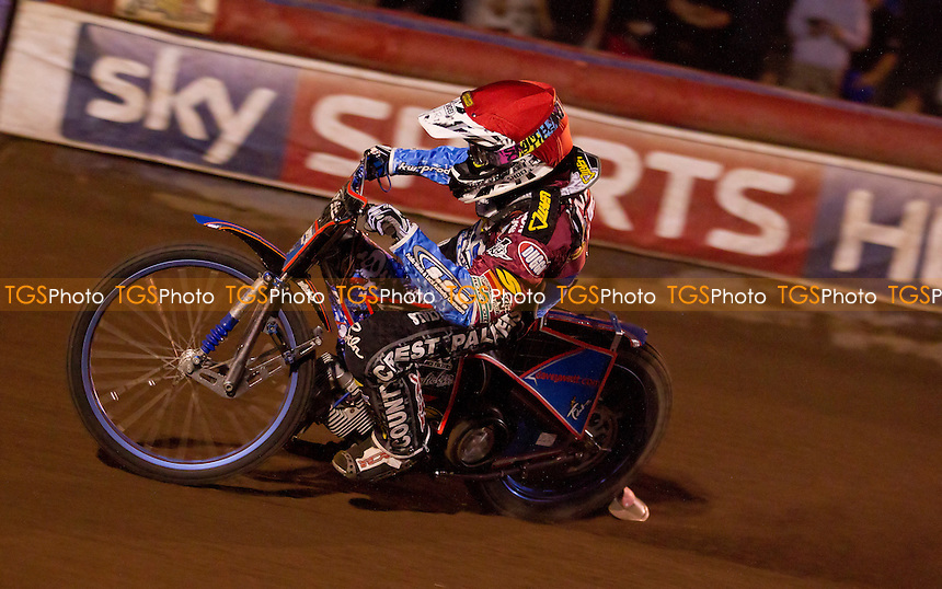 Davey Watt of Lakeside Hammers stormed in to collect a point despite starting heat 4 with a 15m penalty  - Lakeside Hammers vs Poole Pirates - Sky Sports Elite League Speedway at Arena Essex Raceway, Purfleet - 23/08/13 - MANDATORY CREDIT: Ray Lawrence/TGSPHOTO - Self billing applies where appropriate - 0845 094 6026 - contact@tgsphoto.co.uk - NO UNPAID USE